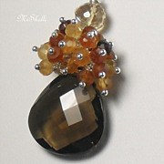 SALE Smokey Quartz Hessonite Gemstone Necklace