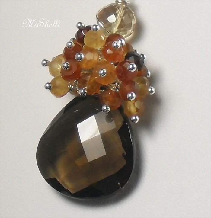 Smokey Quartz Hessonite Gemstone Necklace