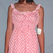 Vintage 1960 Barbizon Seraphim Batiste Pink & white Baby Doll Nighty set NEW NWT NOS Size ...