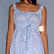 Vintage 1960 Barbizon Seraphim Batiste Blue & white Baby Doll Nighty set NEW NWT NOS Size ...