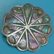 SALE Vintage Mexico Sterling Silver with Inlaid Abalone Brooch Pin Pendant