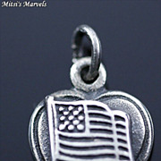 Vintage Repousse Sterling Silver Flag Puffy Heart Charm