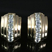 SALE Vintage Sparkling Coro Clear Rhinestone Earrings ~ Channel Set