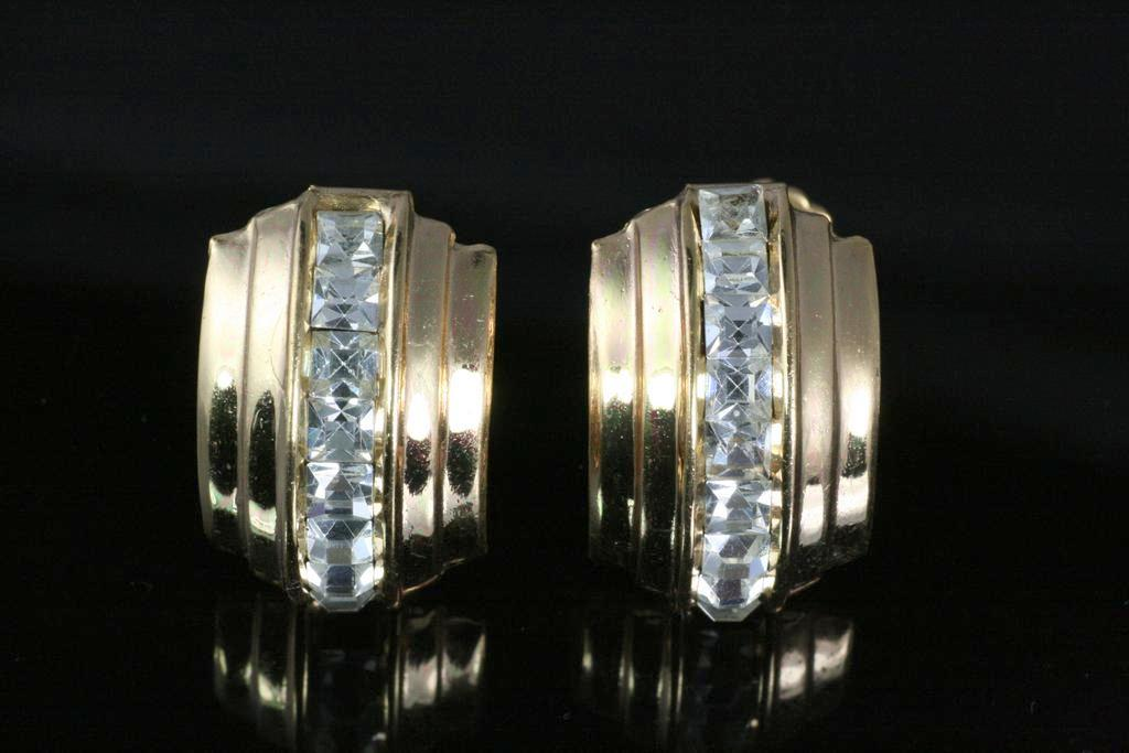 Vintage Sparkling Coro Clear Rhinestone Earrings ~ Channel Set
