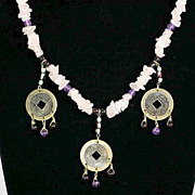 SALE Vintage Hob� Feng Shui Asian Style Coin Pink Quartz with Amethyst and Garnet Necklace