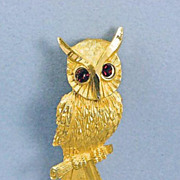 SALE Vintage Owl With Red Rhinestone Eyes Brooch Pin~Signed BSK