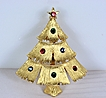Vintage Signed JJ Christmas Tree Brooch Pin~Book Piece