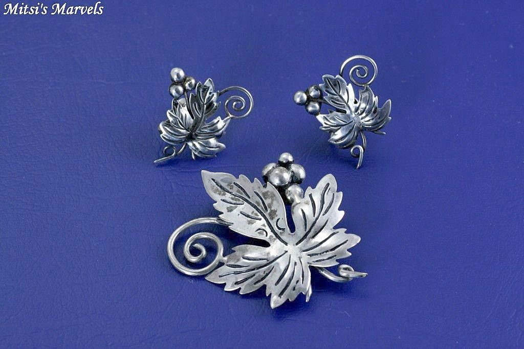 Vintage Pre Eagle Taxco Mexico Sterling Silver Leaf and Grape Brooch Pin and Earrings Set Demi Parure