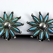 1970�s Faux Petit Point Style Sivertone Turquoise Colored Earrings