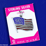 Vintage Large Sterling Silver and Enamel US Flag Charm