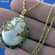 SALE Vintage Gold Filled Hand Carved Shell Cameo Locket Pendant and Chain Necklace