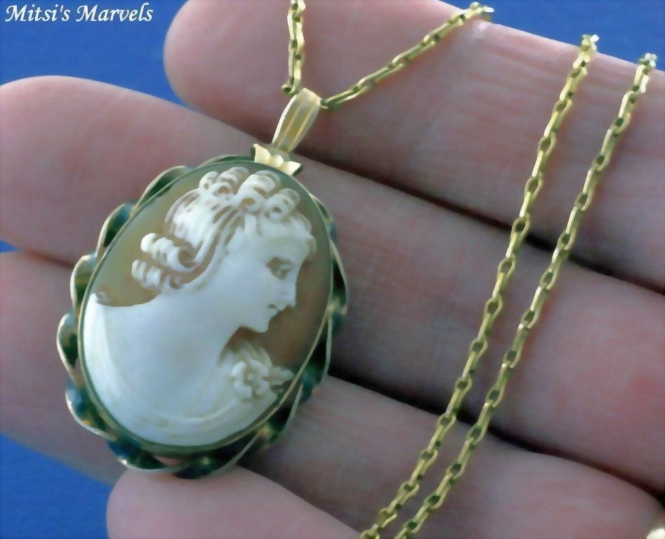 Vintage Gold Filled Hand Carved Shell Cameo Locket Pendant and Chain Necklace