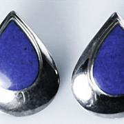 Vintage Sterling Silver Teardrop Earrings with Inset Lapis Colored Stone Earrings
