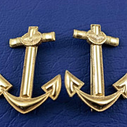 WWII US Navy Officer Anchor Badge Brooch Pin ~ Gold Filled