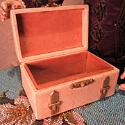 SALE Stylish Antique Miniature Leather Covered Trunk for French Fashion