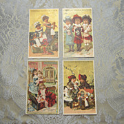 SALE Set of 4 Antique French Trade Cards Featuring Girls and Dolls