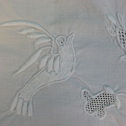 Vintage table runner elaborate embroidery Bird motif
