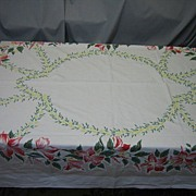 C6 Vintage 50's Floral Tablecloth bright Colors