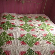 SALE Antique Quilt C 1870 Cockscomb red green applique