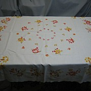C1 Vintage 50's Tablecloth fall floral pattern