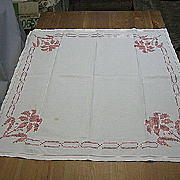 Vintage tablecloth topper cross stitch 1940s