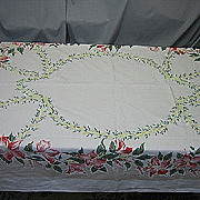 Vintage tablecloth 1950s floral 66X53