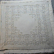 B1283 Vintage pillow case drawn work early 20th century