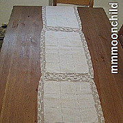 B1369 Vintage lace runner linen w open work