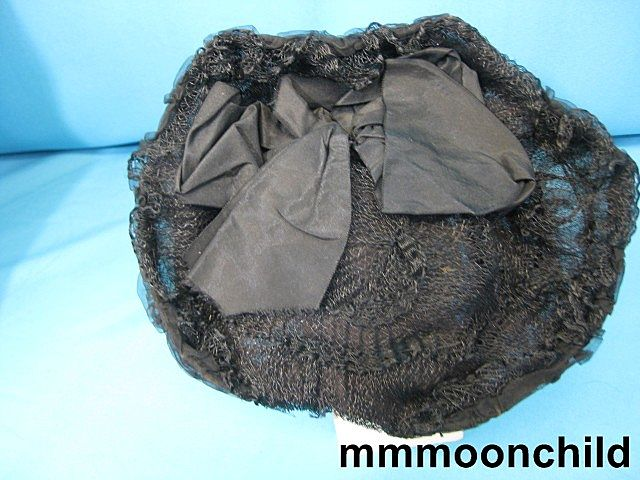 Antique bonnet Victorian era silk w horsehair