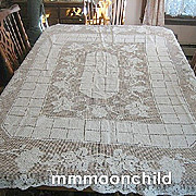 B910 Vintage tablecloth Filet lace handmade 64X84