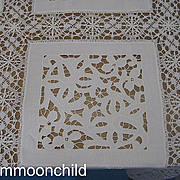 Antique tablecloth handmade Cluny bobbin lace 70X70