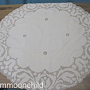 Vintage tablecloth round drawn work tulip pattern
