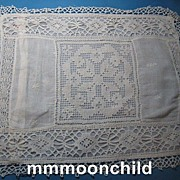 Vintage lace pillow case Edwardian era early 20th century