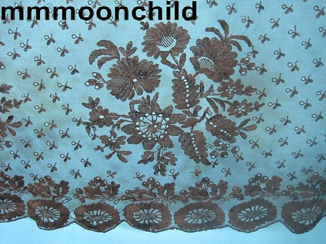 Antique lace bonnet veil silk Spanish lace