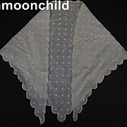Antique neckerchief collar hand embroidered muslin Victorian era