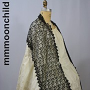 Antique silk lace shawl Victorian era