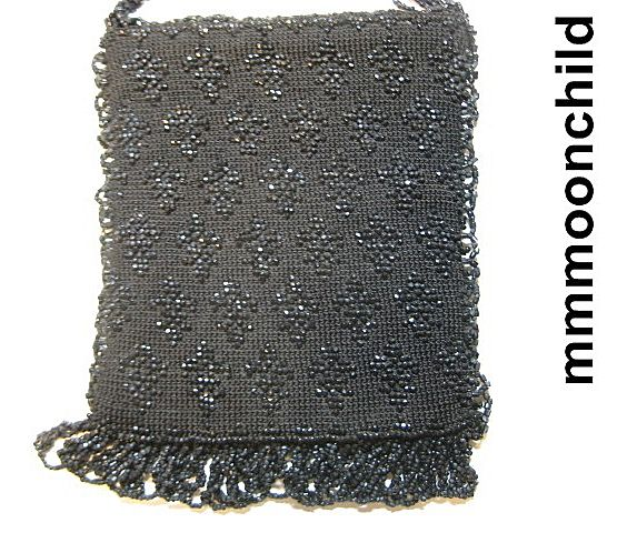 Antique purse Victorian era black jet