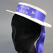 Vintage hat presidential campaign Nixon Lodge ribbon1960