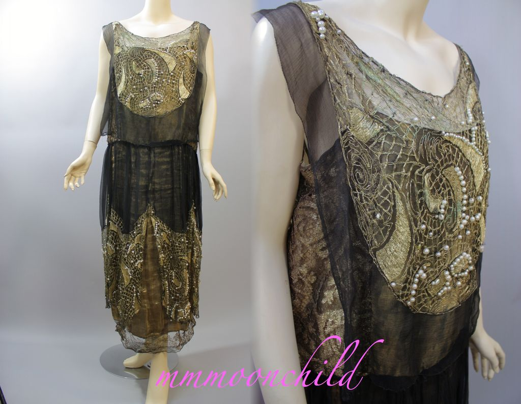 Vintage beaded flapper dress metallic lace 1920s from mmmoonchild ...