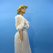 B2612 Antique dress Victorian era tea gown dotted swiss