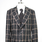Vintage 60s 70s mens Jacket plaid linen