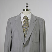 Vintage 60s 70s mens Jacket Gray Ultra Suede
