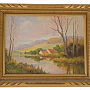 "Augustus Spencer Oil Painting ""A Suffolk Hamlet"" (1860-1924)"