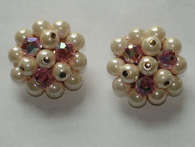 60's Signed Laguna Faux Pearl,Pink Faced Crystal Clip Earrings