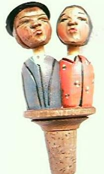 "Hand Carved  Anri Wooden Bottle Stopper "" Kissing Couple"""