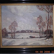 Vintage 1928 Oil Painting of Rural Winter Scene