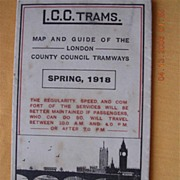 1918 London County Council Trams Route Map Guide
