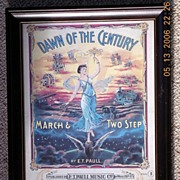 "Vintage Sheet Music Cover ""The Dawn of the Century Circa 1900"
