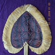 Vintage Pacific Islands Heart Shaped Tapa Fan