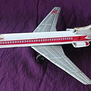 Vintage TWA Boeing 727 Tin Toy Mechanical Plane